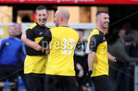 Press Eye - Charity Football Match -  Cystic Fibrosis All Stars vs Limestone United - Seaview - 9th February 2020. Photograph by Declan Roughan. Cystic Fibrosis All Stars Shane Todd Barry and Johnston celebrate scoring against Limestone United.