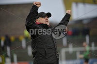 29/02/20. Sadlers Peaky Blinders Irish Cup Quarter final between Glentoran  and Crusaders at the Oval Belfast. Glentorans Mick McDermott celebrates at the final whistle  . Mandatory Credit - Inpho/Stephen Hamilton.