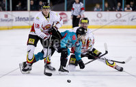 Press Eye - Belfast -  Northern Ireland - 11th January 2019 - Photo by William Cherry/Presseye. Belfast Giants David Rutherford with HK Gomels Yevgeni Khuzeyev during Friday nights Continental Cup Final game at the SSE Area, Belfast.   Photo by William Cherry/Presseye