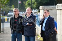©Press Eye Ltd Northern Ireland -11th August   2012. Members of the DUP  observing the parade. Members of the Apprentice boys of Derry make their way down the Crumlin road in Belfast past the shops at Ardoyne on way to the main parade which will be held in County Londonderry.. Mandatory Credit - Picture by Presseye.com.