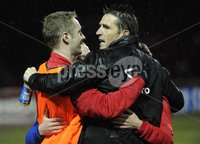 ©Press Eye Ltd Northern Ireland - 23rd April 2012. Setanta cup semi final second leg match between Sligo Rovers and Crusaders at Sligo show grounds..  Crusaders Stephen Baxter celebrates at the final whistle with Timmy Adamson.  Mandatory Credit - Picture by Stephen Hamilton /Presseye.com. .