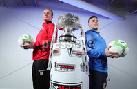 Press Eye - Belfast - Northern Ireland - 5th February 2020 - . NIFL  Bet McLean League Cup Final press night at the National Stadium.. Jordan Owens from Crusaders FC with Aaron Traynor from Coleraine FC . Photo by Kelvin Boyes / Press Eye.