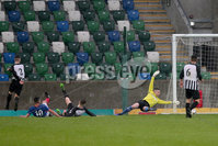 PressEye - Belfast - Northern Ireland - 06th May 2019. Harry Cavan Youth Cup Final. Linfield Rangers vs St. Oliver Plunkett. Pictured: Linfield Rangers\' Ross Weatherup scores against St. Oliver Plunketts\' Sean Saunders.. Picture: Philip Magowan / PressEye