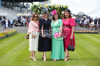 Press Eye - Belfast - Northern Ireland - 22nd June 2019 - . Summer Festival Of Racing Day 2 at Down Royal Racecourse.. Roisin McCann, Mairead Egan, Paula Hughes and Lesa McCann pictured at Down Royal Racecourse.. Photo by Kelvin Boyes / Press Eye.