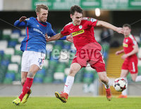 Tennent\'s Irish Cup Quarter-Final, Windsor Park, Belfast 13/3/2018 . Linfield vs Cliftonville. Linfield\'s Kirk Millar with Cliftonville\'s Conor McDonald. Mandatory Credit ©INPHO/Jonathan Porter