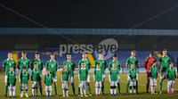 Press Eye - Belfast - Northern Ireland - 18th November 2019. Preparatory Friendly Tournament U19 2019 - Northern Ireland Vs Germany at Mourneview Park in Lurgan.. Northern Ireland line out. . Picture by Jonathan Porter/PressEye