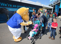 Press Eye - Belfast - Northern Ireland - 16th May 2018. First day of the 2018 Balmoral Show, in partnership with Ulster Bank, at Balmoral Park.   Ulster Bank\'s Henry the Hippo meets some people attending the show. . Picture by Jonathan Porter/PressEye