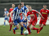 Danske Bank Premiership Play-Off, The Ballymena Showgrounds, Co. Antrim 7/4/2018 . Coleraine vs Cliftonville. Darren McCauley for Coleraine and Chris Curran for Cliftonville. Mandatory Credit ©INPHO/Freddie Parkinson
