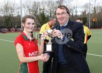 Mandatory Credit - Picture by Freddie Parkinson/Press Eye ©. Tuesday 13 March 2018. The Pavilion, Stormont Estate, Belfast BT4 3TA. Gibson Cup Final. Friends School Lisburn defeated Ballyclare High School 2-0.. Ellie Hickland is presented with the Gibson Cup by Chris Harte, President, Ulster Hockey Union