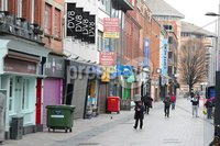 Press Eye - Belfast - Northern Ireland - Monday 23rd March 2020 - . General view of Belfast City centre at lunch time today.. Enforced social distancing is likely to be introduced soon, Northern Ireland\'s health minister Robin Swann has said. Photo by Kelvin Boyes / Press Eye .
