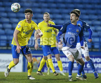 Tennants Irish Cup at Mourneview in Lurgan.  11.02.2019. Glenavon v Dungannon. Glenavon\'s  Conor McCloskey with Dungannon\'s Oisin Smyth. Mandatory CreditINPHO/PressEye.com/Jonathan Porter.