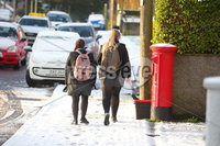 Press Eye - Belfast - Northern Ireland - 12th February 2020. Northern Ireland sees some overnight snowfall.  People make their way along Newtownbreda Road in south Belfast. . Picture by Jonathan Porter/PressEye