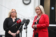Press Eye - Belfast - Northern Ireland - 21st March 2019. Deputy first minister Michelle O\'Neill talks to the media after a meeting with the RCN in Belfast.. Also pictured RCN director Pat Cullen and Communities Minister Deirdre Hargey.. Picture Matt Mackey / Press Eye.