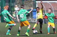 ©/Presseye.com - 9th July 2017.  Press Eye Ltd - Northern Ireland - Hughes Insurance Foyle Cup 2017- Mini Soccer U-10 - Clonmany Sdhamrocks (Donegal) V Aileach FC (Donegal). Aileach\'s Paul Eyreclosed down by a trio of Clonmany players.. Illistrin\'s Johnny Boyle and Phoenix\'s Rhys Ward..  . Mandatory Credit Photo Lorcan Doherty / Presseye.com