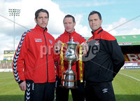 Presseye.com ©Stephen Hamilton  - 9th  May 2012. Derry Citys Ruaidhri Higgins and Barry Molloy pictured with Crusaders  David Rainey pictured at the Setanta cup final press conference held ahead of Saturdays game at the Oval.   Mandatory Credit - Picture by Stephen Hamilton/Presseye.