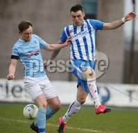 Danske Bank Premiership, Showgrounds, Ballymena . 7/3/2020. Ballymena United FC v Coleraine FC. Ballymena United\'s Reece Glendinning  and Eoin Bradley of Coleraine.. Mandatory Credit  INPHO/Brian Little