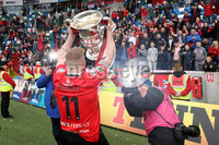 Tennent\'s Irish Cup Final - Ballinamallard United vs Crusaders - National Football Stadium - Windsor Park - Belfast - 4/5/19. Ballinamallard United vs Crusaders. Mandatory Credit INPHO/Declan Roughan. Crusaders David Cushley celebrates with the cup after defeating Ballinamallard 3-0