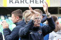 Tennent\'s Irish Cup Final - Ballinamallard United vs Crusaders - National Football Stadium - Windsor Park - Belfast - 4/5/19. Ballinamallard United vs Crusaders. Mandatory Credit INPHO/Declan Roughan. Ballinamallard\'s Manager Harry McConkey pays tribute to the fans