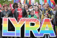 Press Eye - Belfast - Northern Ireland - 18th May 2019. Same sec marriage campaigners for Northern Ireland hold a march and rally in Belfast City Centre from Writers Square to the City Hall. The rally was addressed by the Sara Canning(second from left) partner of Lyra McKee who was murdered after being shot dead by dissident republican in Derry last month.. Picture by Jonathan Porter/PressEye