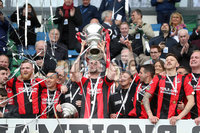 Tennent\'s Irish Cup Final - Ballinamallard United vs Crusaders - National Football Stadium - Windsor Park - Belfast - 4/5/19. Ballinamallard United vs Crusaders. Mandatory Credit INPHO/Declan Roughan. Crusaders captain Colin Coates lifts the cup after defeating Ballinamallard 3-0