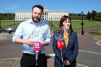 Press Eye - Stormont - 14th May 2019. Photograph by Declan Roughan. SDLP\'s Colm Eastwood with Nichola Malon