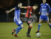 . Danske Bank Premiership, The Showgrounds, Co. Armagh 2/11/2018. Newry City vs Crusaders. Newry\'s Thomas McCann  in action with Crusaders Paul Heatley. Mandatory Credit INPHO/Stephen Hamilton.