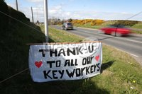 Press Eye - Belfast - Northern Ireland - 30th March 2020 - . General view of a sign paying tribute to key workers near Bangor in County Down, Northern Ireland.. Photo by Kelvin Boyes / Press Eye..