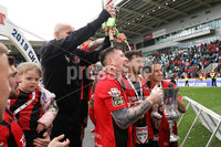 Tennent\'s Irish Cup Final - Ballinamallard United vs Crusaders - National Football Stadium - Windsor Park - Belfast - 4/5/19. Ballinamallard United vs Crusaders. Mandatory Credit INPHO/Declan Roughan. Crusaders celebrate with the cup after defeating Ballinamallard 3-0