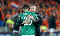 Press Eye - Belfast, Northern Ireland - 16th November 2019 - Photo by William Cherry/Presseye. Northern Ireland manager Micheal O\'Neill hugs Craig Cathcart at the final whistle which could be the last time as the Manager at the National Stadium after Saturday nights UEFA Euro 2020 Qualifier against Netherlands at the National Stadium, Belfast.     Photo by William Cherry/Presseye