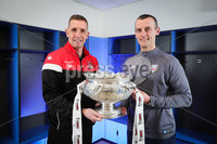 Press Eye - Belfast - Northern Ireland - 5th February 2020 - . NIFL  Bet McLean League Cup Final press night at the National Stadium.. Stephen Baxter from Crusaders FC and Oran Kearney from Coleraine FC . Photo by Kelvin Boyes / Press Eye.