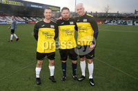 Press Eye - Charity Football Match -  Cystic Fibrosis All Stars vs Limestone United - Seaview - 9th February 2020. Photograph by Declan Roughan. Cystic Fibrosis All Stars Shane James, Paul Armstrong and Winkie Murphy