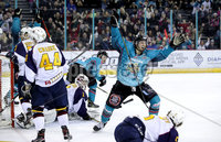 Press Eye - Belfast, Northern Ireland - 29th February 2020 - Photo by William Cherry/Presseye. Belfast Giants\' Ben Lake celebrates Patrick Mullen scoring against the Guildford Flames during Saturday nights Elite Ice Hockey League game at the SSE Arena, Belfast.    Photo by William Cherry/Presseye