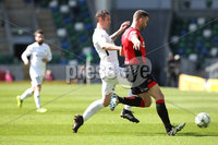 Tennent\'s Irish Cup Final - Ballinamallard United vs Crusaders - National Football Stadium - Windsor Park - Belfast - 4/5/19. Ballinamallard United vs Crusaders. Mandatory Credit INPHO/Declan Roughan. Ballinamallard United\'s Ryan Campbell with Colin Coates  of Crusaders