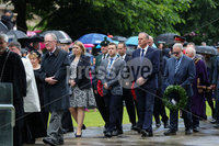 Press Eye - Belfast - Northern Ireland - 1st July 2019 . Battle of the Somme Commemoration in Belfast . The Anniversary of the Battle of the Somme, in which Officers, Non-Commissioned Officers and Men of the 36th (Ulster) Division, the 16th (Irish) Division and other forces made the supreme sacrifice, is commemorated at the Cenotaph in the Garden of Remembrance, Belfast City Hall grounds.. Secretary of State for Northern Ireland Karen Bradley at a wreath laying ceremony to mark the Battle of the Somme in the grounds of Belfast City Hall.. Photo by Kelvin Boyes / Press Eye.. .