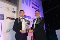 Press Eye - Belfast - Northern Ireland - 13th May 2019 . Northern Ireland Football Awards at the Crowne Plaza Hotel, Belfast. . Photo by Declan Roughan / Press Eye.. Danske Bank Player of the Year Award. Danske Banks Chris Marshall presents Jimmy Callacher with the Player of the Year Award..