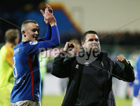 Danske Bank Premiership, The Oval, Belfast 8/10/2018. Glentoran vs Linfield. Linfield\'s Michael O\'Connor and manager David Healy celebrate after they win the match 0-1. . . Mandatory Credit INPHO/Jonathan Porter