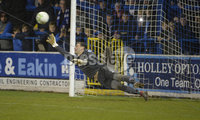 Bet Mclean league cup 3rd round . 8th October 2019. Coleraine  v Glentoran ay Ballycastle road, Coleraine. Glentorans Elliott Morris can\'t stop Ben Doherty penalty. Mandatory Credit INPHO/Stephen Hamilton.