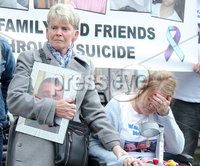 Press Eye Belfast - Northern Ireland 7th October 2017. Mental health march in Belfast city centre organised by campaigner Philip McTaggart, who lost his son Philip to suicide in 2003.  The march follows the death of 31-year-old Stephen Ferrin who died in September. He had previously lost his two brothers to suicide.  Stephen Ferrin\'s mother Patricia (right) pictured at the march. . Picture by Jonathan Porter/PressEye.com.