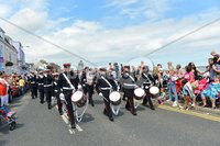 ©Press Eye Ltd Northern Ireland - 12th July  2012. Ballyhalbert flute band pictured at the 12th of July celebrations in Donaghadee County Down.. Mandatory Credit - Picture by Stephen Hamilton/Presseye.com.