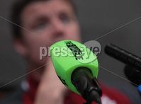 Ireland Rugby Press Conference, The Copthorne Commodore Hotel, Christchurch, New Zealand 14/6/2012. Ireland captain Brian O\'Driscoll during the press conference with the score.ie microphone. Mandatory Credit ©INPHO/Billy Stickland