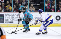 Press Eye - Belfast, Northern Ireland - 06th March 2020 - Photo by William Cherry/Presseye. Belfast Giants\' Curtis Hamilton with Fife Flyers\' Dylan Quaile during Friday nights Elite Ice Hockey League game at the SSE Arena, Belfast.   Photo by William Cherry/Presseye