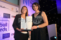 Press Eye - Belfast - Northern Ireland - 13th May 2019 . Northern Ireland Football Awards at the Crowne Plaza Hotel, Belfast. . Photo by Declan Roughan / Press Eye.. Electric Ireland Womens\' Football Personality of the Year. Electric Ireland\'s Anne Smyth presents the award to Billie Simpson from Cliftonville.