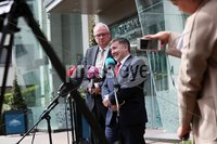 Press Eye - Belfast - Northern Ireland - 20th May 2019 -  . Steve Aiken and Robin Swann pictured at a press conference at the Stormont Hotel following meetings with the political parties.. Photo by Kelvin Boyes  / Press Eye..