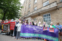 Press Eye - Belfast - Northern Ireland - 25th June 2019. Pensioners hold a protest at BBC Broadcasting house on Ormeau Avenue in Belfast City Centre after the governments decision to take away the free TV license for people over 75-years-old. . Picture by Jonathan Porter/PressEye. .  .