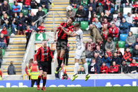 Tennent\'s Irish Cup Final - Ballinamallard United vs Crusaders - National Football Stadium - Windsor Park - Belfast - 4/5/19. Ballinamallard United vs Crusaders. Mandatory Credit INPHO/Declan Roughan. Ballinamallard United\'s Ross Tahney with Jordan Forsythe of Crusaders
