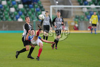 PressEye - Belfast - Northern Ireland - 06th May 2019. Harry Cavan Youth Cup Final. Linfield Rangers vs St. Oliver Plunkett. Pictured: Linfield Rangers Ross Weatherup and St. Oliver Plunketts\' Mark Donnelly.. Picture: Philip Magowan / PressEye