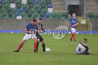 PressEye - Belfast - Northern Ireland - 06th May 2019. Harry Cavan Youth Cup Final. Linfield Rangers vs St. Oliver Plunkett. Pictured: Linfield Rangers\'s Ross Weatherup and Oliver Plunkett\'s Michael Mervyn.. Picture: Philip Magowan / PressEye