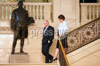 Press Eye - Belfast - Northern Ireland - 2nd July 2019 - Picture Matt Mackey / Press Eye.. Conservative Party leadership candidate Boris Johnson is pictured alongside Democratic Unionist Party (DUP) leader Arlene Foster at Parliament Buildings on the Stormont Estate in East Belfast.. Boris Johnson was in Northern Ireland at a party leadership hustings where the two candidates for the Tory leadership have been taking part in a series of party events across the UK.
