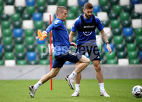 Press Eye - Belfast, Northern Ireland - 01st September 2020 - Photo by William Cherry/Presseye. Northern Ireland\'s Steven Davis and Stuart Dallas during Tuesday mornings training session at the National Stadium at Windsor Park, Belfast ahead of Friday nights Nations League game in Romania.    Photo by William Cherry/Presseye
