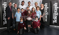 ©Press Eye Ltd Northern Ireland -3rd May 2012. Mandatory Credit - Picture by Darren Kidd/Presseye.com . ANDREWS MEMORIAL PRIMARY SCHOOL WIN COACHING SESSION WITH ULSTER RUGBY. Pupils from Andrews Memorial Primary School picked up second prize of a coaching session with Ulster Rugby, they are pictured with Bank of Ireland's Bernard Rooney and Belfast Telegraph\'s Joanne Uprichard  at the season finale of The Belfast Telegraph 'Rugby Rewards' campaign in association with Bank of Ireland.   Also pictured are Ulster Rugby players Paddy McAllister, Pedrie Wannenburg and Ruan Pienaar . .  Press Release. 03.05.2012.  . RANDALSTOWN RUGBY CLUB REWARDED AT ULSTER RUGBY SEASON FINALE. It was a grand slam at Ravenhill last night (Thursday 3rd May) as ten schools and mini rugby clubs from across Northern Ireland gathered at Ravenhill rugby grounds for the season finale of The Belfast Telegraph 'Rugby Rewards' campaign in association with Bank of Ireland and supported by Ulster Rugby..  . Hundred's of schools registered and over 50,000 tokens were collected for the  'Rugby Rewards' initiative, with ten schools being selected at random to be in with the chance of winning the ultimate prize of  £1500 worth of sports equipment from Bank of Ireland..  . Young budding rugby players from Coleraine Mini Rugby Club, Campbell College Junior School, Andrews Memorial Primary School, Ben Madigan Prep – year 4, Donaghadee Rugby Club, St Andrews National School in L'Derry, Randalstown Rugby Football Club, Pond Park Primary School, Lisburn, Dromore RFC Under 7's and Rasharkin Primary School gathered at the grounds eagerly awaiting the results of which prize they had won..  . Met by some of the Ulster Rugby Stars, it was Randalstown Rugby Club Under 14s team which took home the top prize of £1500 worth of sports equipment from the Bank of Ireland.   Andrews Memorial Primary School in Comber won a coaching & training session with the Ulster Rugby squad and Dromore Rugby Club under 7s team won a VIP team trip t